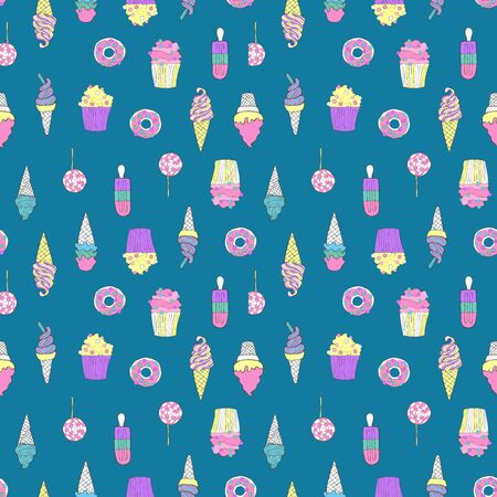 Sweets. Ice cream, donuts, cupcakes. Dessert Seamless vector pattern (background). Food. Cartoon print.  イラスト・ベクター素材