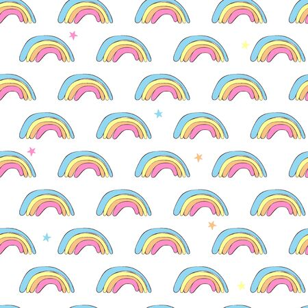 Rainbow. Seamless vector pattern (background). Cartoon print.
