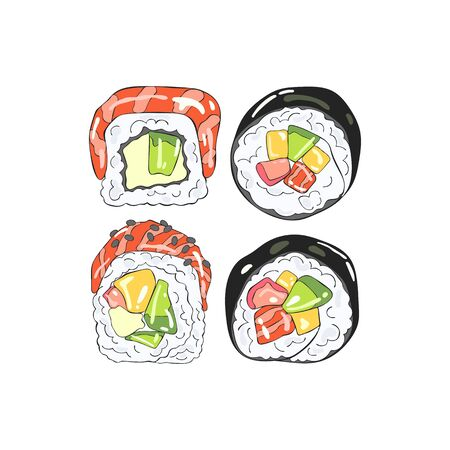 Japanese food. Rolls. Sea food. Isolated vector object on white background. Cartoon print.