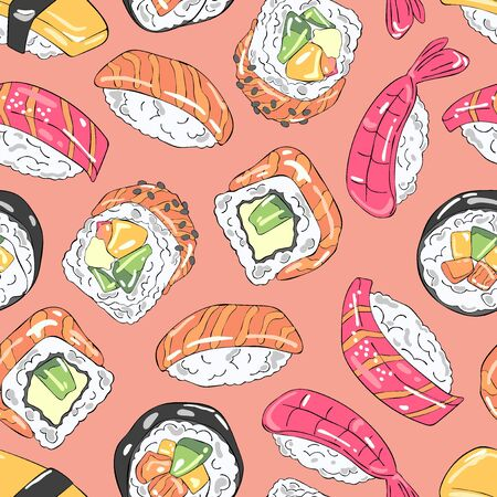 Japanese food. Sushi and rolls. Sea food. Seamless vector pattern (background). Cartoon print.