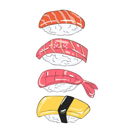 Japanese food. Sushi Sea food. Isolated vector object on white background. Cartoon print.