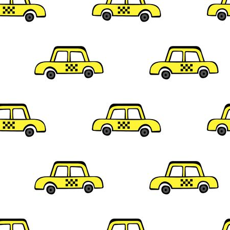 Taxi cars. Seamless vector pattern (background, print).