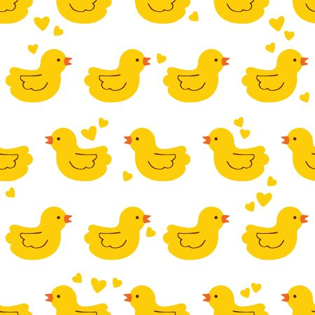 Cute little ducks. Seamless vector pattern (background). Cartoon print. Yellow.