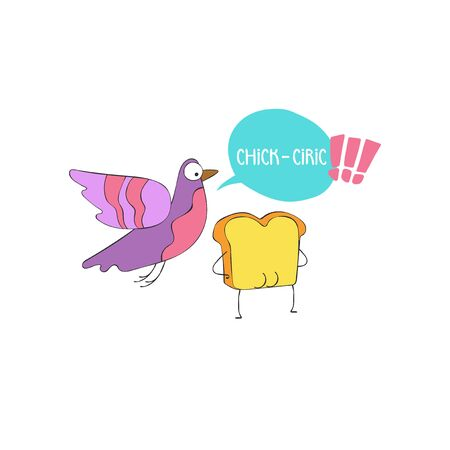 Chick-Ciric. Toast and pigeon. Cartoon drawing. Sketch Isolated object on white background.