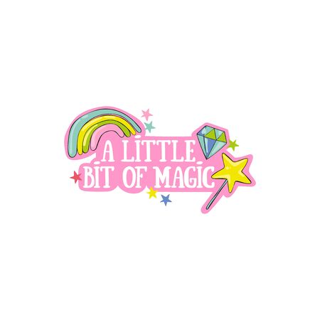 A little bit of magic. Magic wand, diamond, rainbow and stars. Lettering Isolated vector object on white background.  イラスト・ベクター素材
