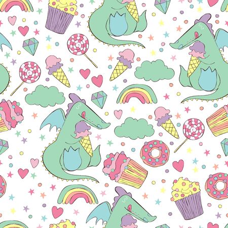 Dragon and sweets. Ice cream, cake, candy, donut. Brilliant, cloud, rainbow. Heart and stars. Seamless vector pattern (background).  イラスト・ベクター素材