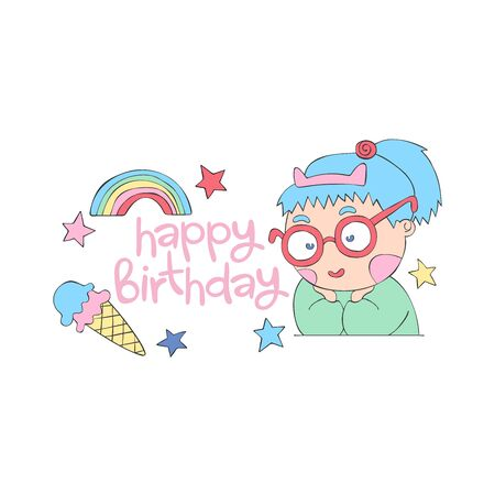Happy birthday Lettering. Girl with blue hair in glasses. Ice cream. Rainbow and stars. Cartoon. Isolated vector object on a white background. 일러스트