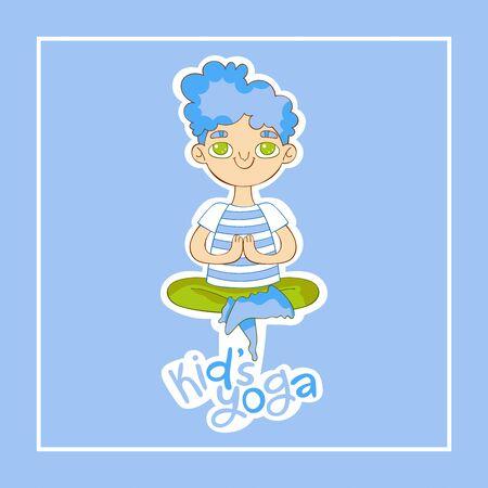 Kids yoga. Boy Lotus position lettering. Cartoon. Isolated vector object. Blue Yoga for children and healthy lifestyle. Vector illustration. Ilustração