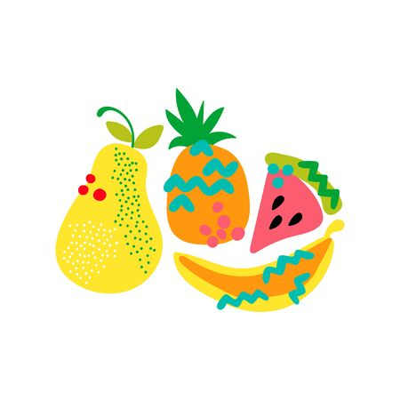 Fruits. Cartoon food. Pear, pineapple, watermelon, banana. Isolated vector objects on a white background. Ilustracja