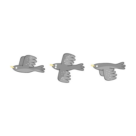 Three birds. Isolated vector objects on a white background.