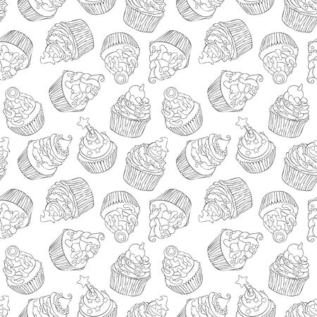 Halloween cupcakes. Cartoon sweetness. Seamless vector pattern (background).