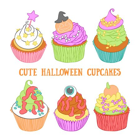 Halloween cupcakes. Cartoon sweetness. Set. Isolated vector object on a white background. 写真素材 - 131752844