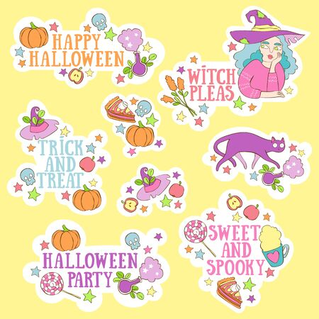 Halloween lettering set. Witch, black cat, pumpkin. Sweets and hot drinks. Magic and stars. Vector isolated objects. Archivio Fotografico - 134391625
