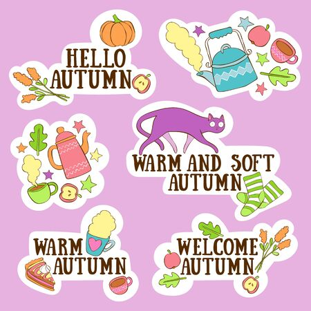 Hello, Autumn. Stickers set. Hot drinks. Cute cat. Autumn leaves. Lettering. Isolated vector objects. Purple