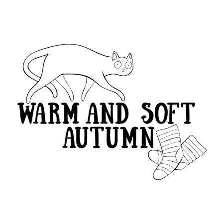 Warm and soft autumn. Lettering. Cute cat. Knitted warm socks. Isolated vector object on white background. Archivio Fotografico - 134391627