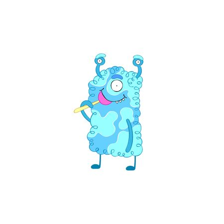 Cute colorful monster. Isolated vector object on white background. Cartoon character.