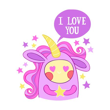 Cute little unicorn. I love you. Stars Isolated vector object on a white background.