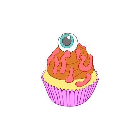 Halloween cupcakes. Cartoon sweetness. Isolated vector object on a white background.