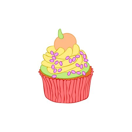 Halloween cupcakes. Cartoon sweetness. Isolated vector object on a white background. 写真素材 - 131753458