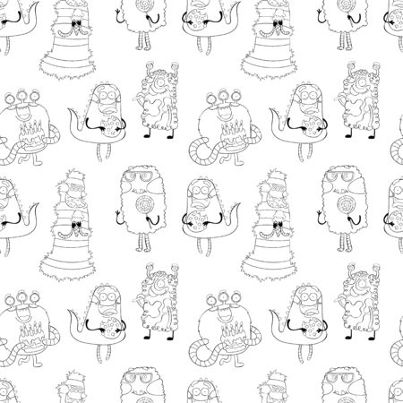 Monsters Halloween background. Seamless vector pattern (print). Archivio Fotografico - 134391635