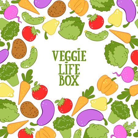 Veggie Life box. Vegetables. Broccoli, carrots, lettuce, tomato, cucumber, pumpkin, radish, potatoes, peppers, eggplant. Vector square frame.