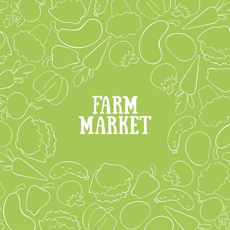 Farm Market. Vegetables. Broccoli, carrots, lettuce, tomato, cucumber, pumpkin, radish, potatoes, peppers, eggplant. Vector square frame. Ilustração