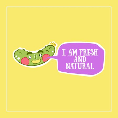 I am fresh and natural. Cucumber. Cartoon vegetable. Isolated vector object. Lettering. Color