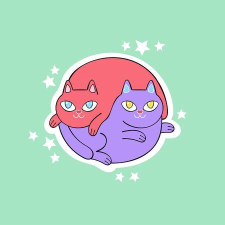 Two cute cats. Stars Cartoon animals. Isolated vector object. Archivio Fotografico - 134391661