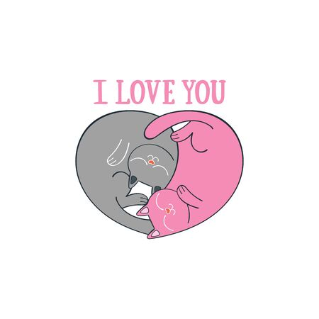 I love you. Heart shape. Two cute cats. Cartoon animals. Isolated vector object. Archivio Fotografico - 134391666
