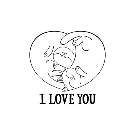 I love you. Heart shape. Two cute cats. Cartoon animals. Isolated vector object. Archivio Fotografico - 134391667