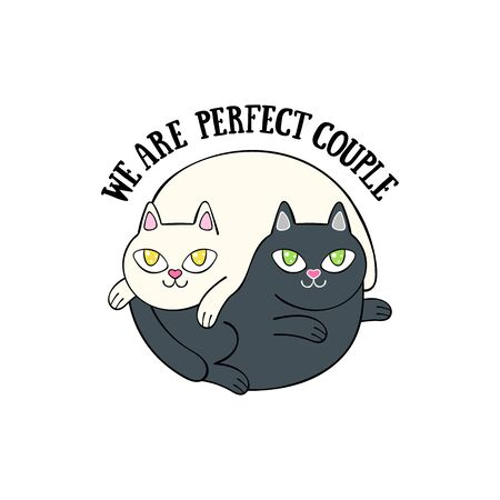 We are perfect couple. Two cute cats. Cartoon animals. Isolated vector object. Archivio Fotografico - 134391668