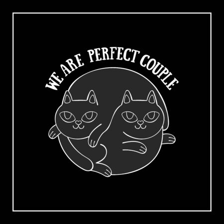 We are perfect couple. Two cute cats. Cartoon animals. Isolated vector object. Archivio Fotografico - 134391669