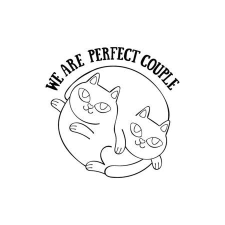 We are perfect couple. Two cute cats. Cartoon animals. Isolated vector object. Archivio Fotografico - 134391670