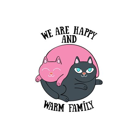 We are happy and warm family. Two cute cats. Cartoon animals. Isolated vector object. Archivio Fotografico - 134391676