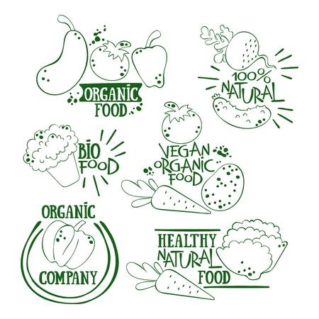 Fresh organic vegetables lettering. Vegan theme. Potatoes, cucumber, tomato, broccoli, eggplant, salad, radish, pumpkin, carrot, pepper. Isolated vector objects.