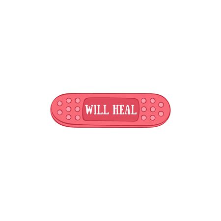 Will heal. Lettering. Medical plaster. Patch. Isolated vector object on a white background. 일러스트