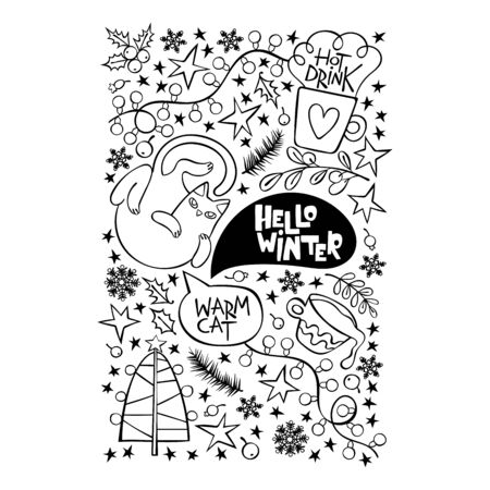 Hello, Winter. Warm cat. Hot drink. Postcard. Christmas tree and snowflake. Isolated vector object. Doodle flowers. Archivio Fotografico - 134391789