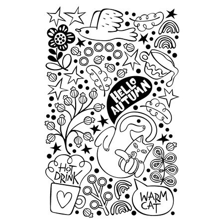 Hello, Autumn. Warm cat. Hot drink. Postcard. Isolated vector object. Doodle flowers. Archivio Fotografico - 134391791