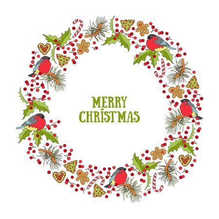 Buon Natale. Lettere. Ciuffolotti. Albero di Natale del biscotto di pan di zenzero. Frutti di bosco. Cornice - corona. Biglietto di auguri. Oggetto vettoriale isolato.