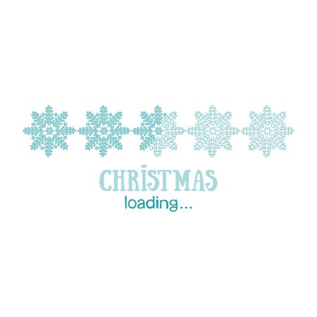Christmas loading. Lettering. Snowflakes Isolated vector object.