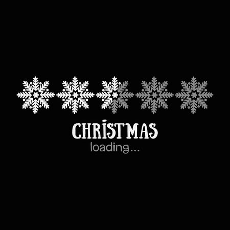 Christmas loading. Lettering. Snowflakes Isolated vector object.  イラスト・ベクター素材