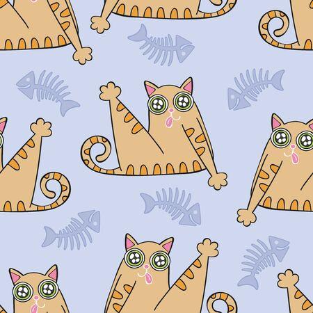 Cute cat. Seamless vector pattern (background). Cartoon print.