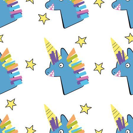 Unicorns and stars. Children's drawing. Seamless vector pattern (background). Cartoon print.