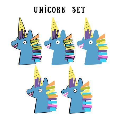 Unicorns set. Children's set. Isolated vector objects.