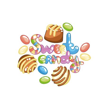 Sweet candy Lettering. Chocolates and jelly beans. Isolated vector objects on a white background.  イラスト・ベクター素材