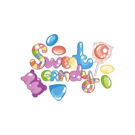 Sweet candy Lettering. Jelly bears, candies, dragees. Isolated vector objects on a white background.