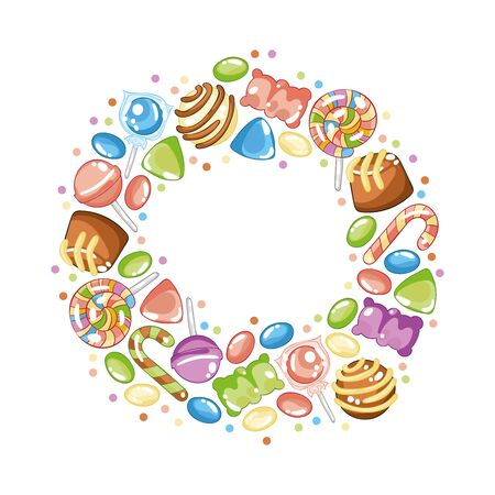 Sweets and candy. Lollipops, jelly bears, dragees, chocolates. Round pattern - frame, wreath, border. Isolated vector objects on a white background.