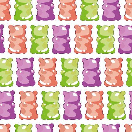 Jelly bears. Teddy Bears. Seamless vector pattern (background). Cartoon food print.