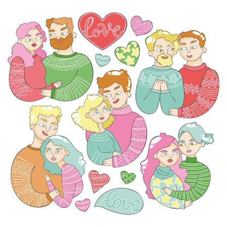 Love Set. Pair - family. Man and woman. Two men. Two women. Lettering. Heart symbol. Winter warm knitted sweaters. Cartoon people. Isolated vector objects on white background.  イラスト・ベクター素材