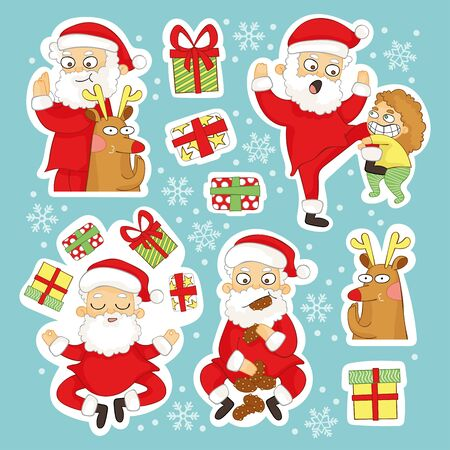 Holiday set. New Year's drawing. Christmas Santa claus. Gifts, chocolate chip cookies, baby and Christmas deer. Isolated vector objects. Snow and snowflakes.